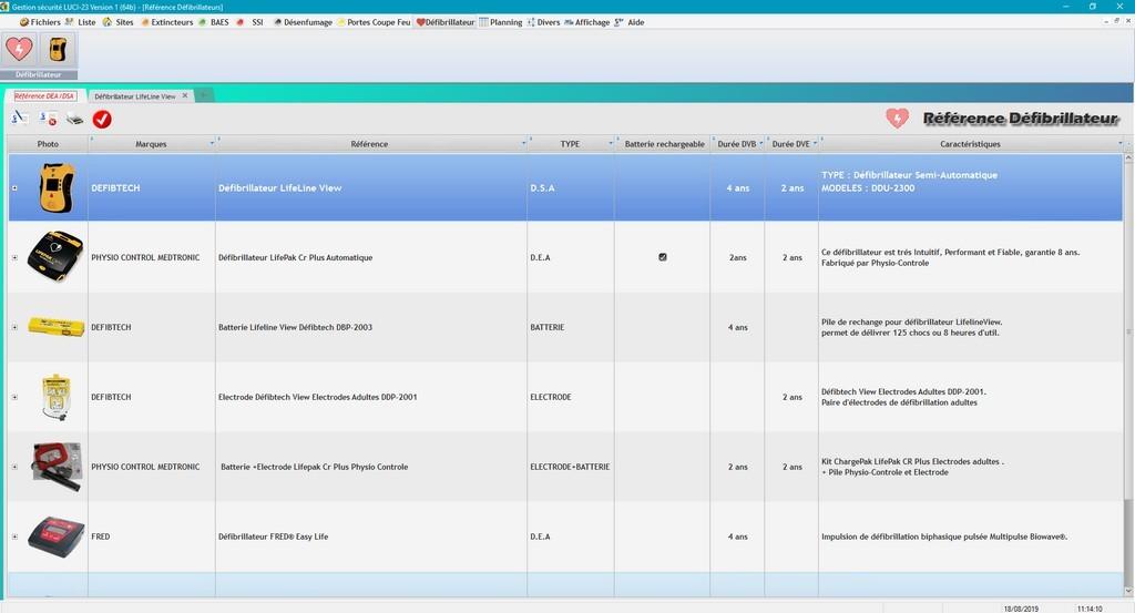 LUCI-23  - Table Ref défibrillateur